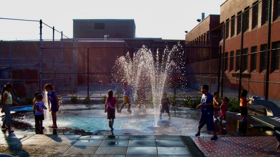 kids playing in splash pad