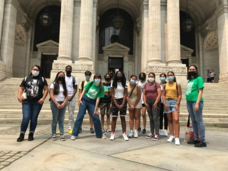 SYEP social justice group on a field trip at the Bryant Park NYPL